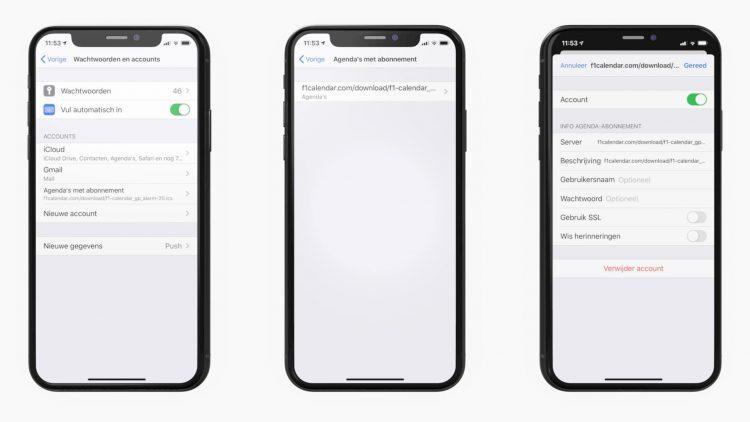 Agenda abonnement iPhone verwijderen
