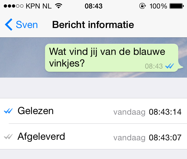 whatsapp blauw vinkje