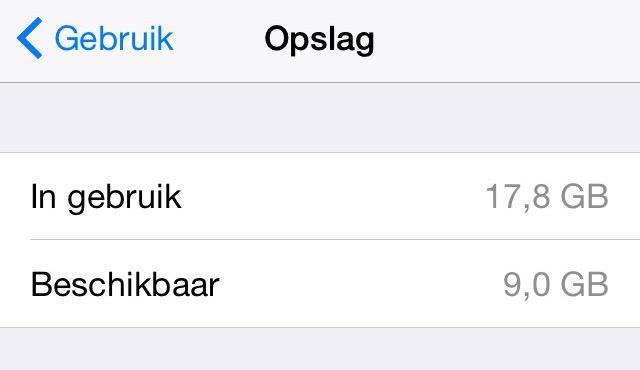 Opslagruimte iOS 8