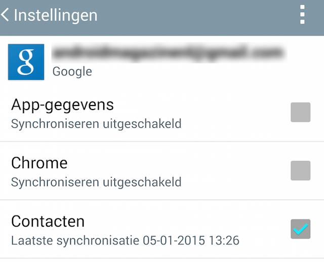 synchronisatie instellingen android