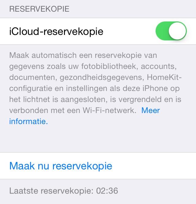 Reservekopie iCloud