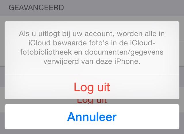 Uitloggen iCloud