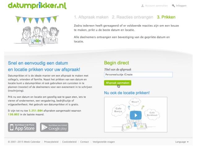Nieuwe afspraak maken op datumprikker.nl
