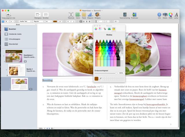 Kookboek iBooks Author: kleuren finetunen