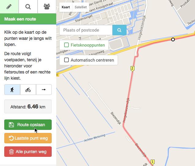 Fietsroute maken met google maps