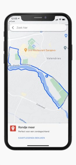 Wandelroute google maps iPhone