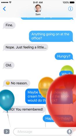Berichten iOS 10 - ballon