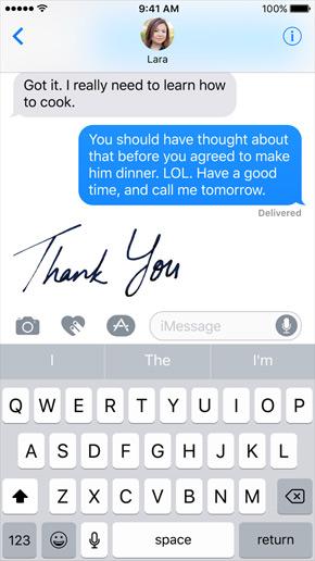 Berichten iOS 10 - handschrift