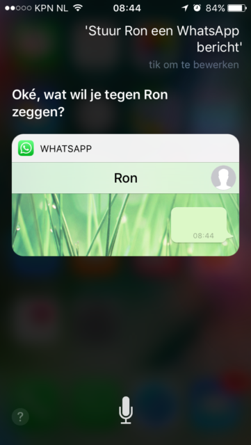 WhatsAppen met Siri in iO