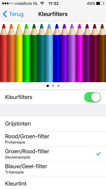 Kleurfilter kiezen iPhone