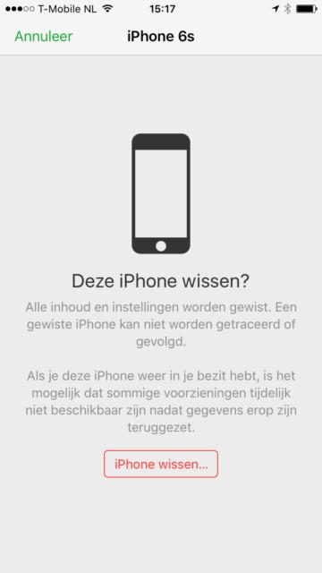 Zoek mijn iPhone wissen