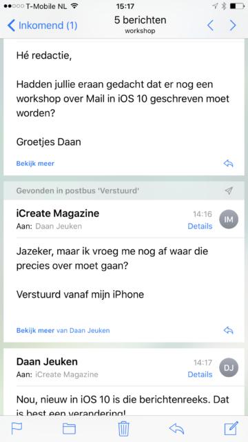 Berichtenreeksen Mail iOS 10