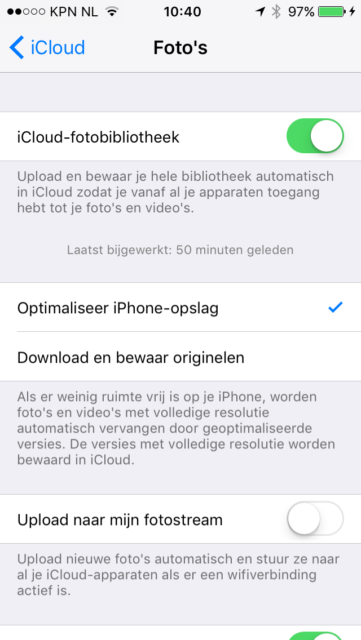 optimaliseer opslag iPhone