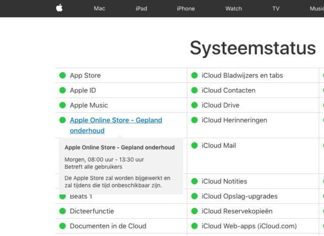 Onderhoud Apple Online Store