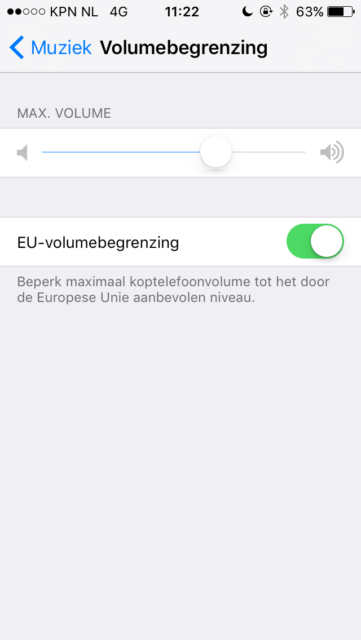 Volumebegrenzing iPhone