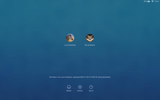 Bericht op het startscherm van je Mac