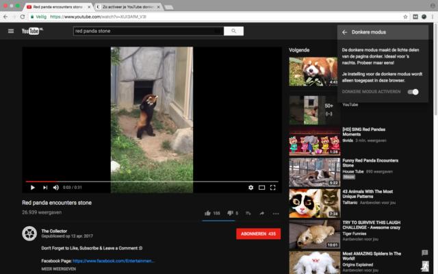 Donkere modus YouTube