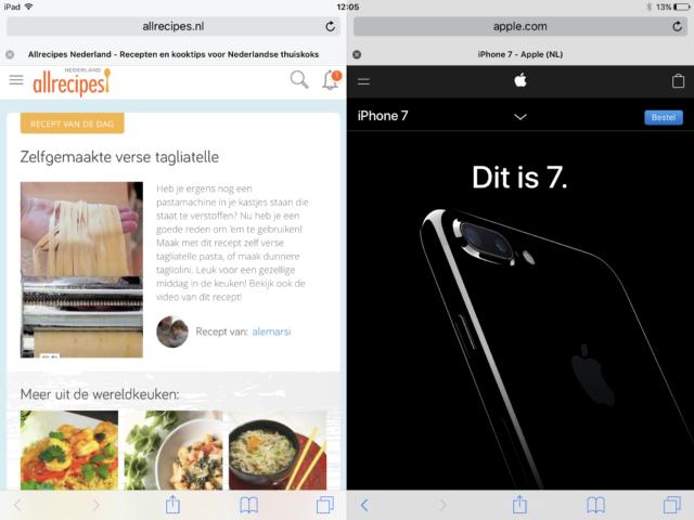 Split-view Safari ipad