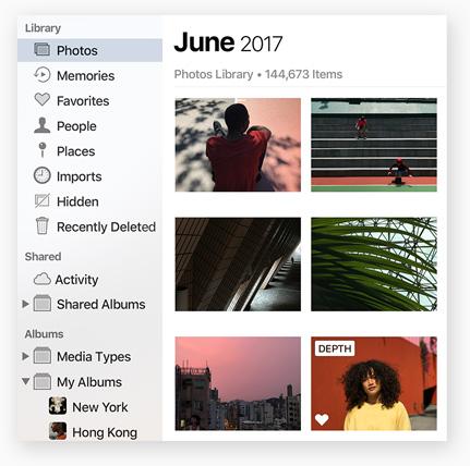 macOS High Sierra foto's navigatie