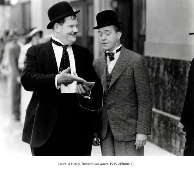 Laurel en Hardy met iPhone
