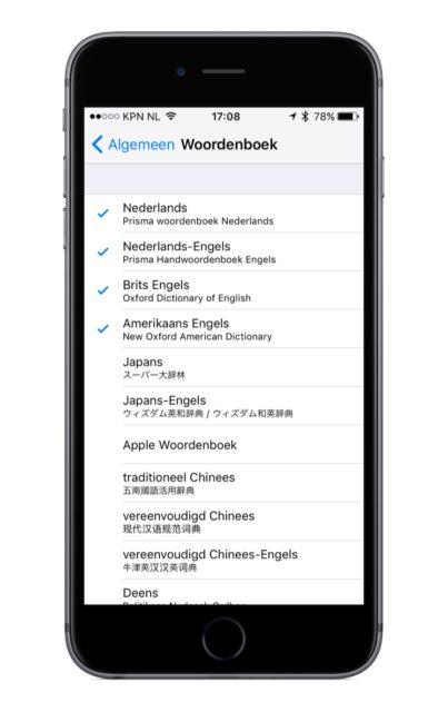 Woordenboek iPhone