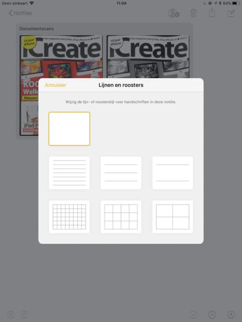 Notities papier iOS 11