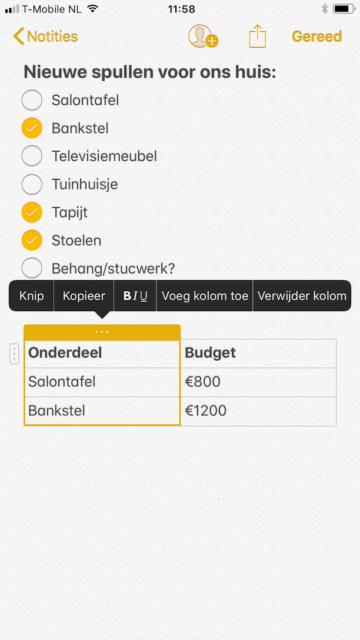 Notities tabel iOS 11