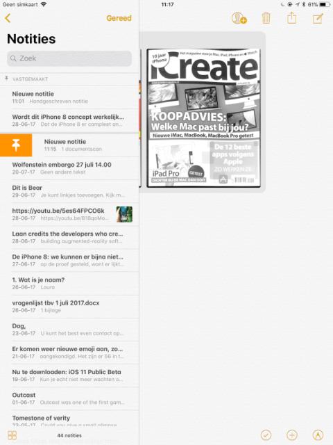 Notities vastzetten iOS 11