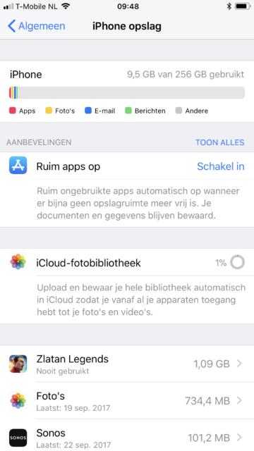 iOS 11 nieuw: iPhone opslag