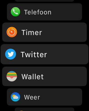 watchOS 4 lijstweergave apps