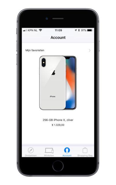 iPhone X pre-order in Apple Store app