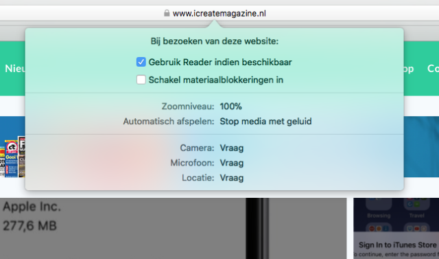 Safari reader weergave