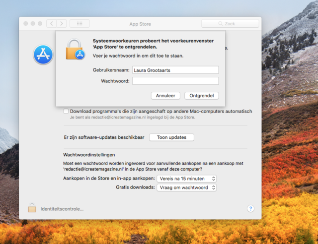 Bug Mac App Store instellingen