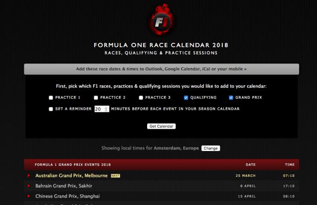 Formule 1 kalender 2018 stap 3