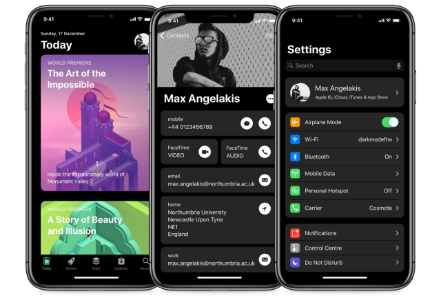 iOS 12 donker thema concept