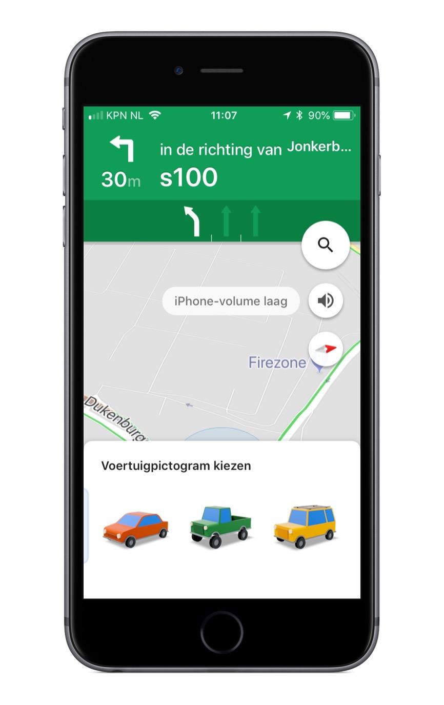 Google Maps voertuigpictogram