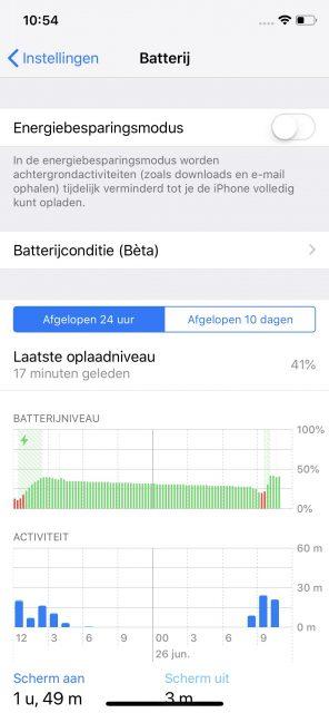 iOS 12 batterij