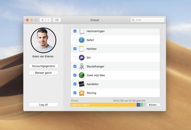 iCloud sleutelhanger activeren