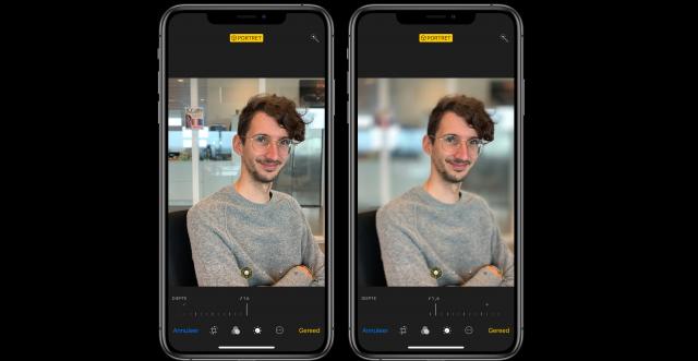 scherptediepte iPhone XS aanpassen