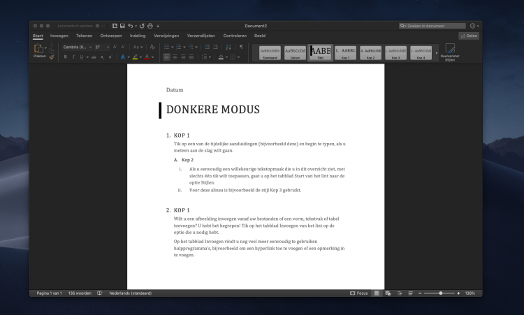donkere modus office apps