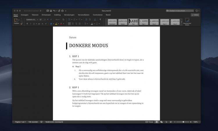 Microsoft Office-apps ondersteunen nu de donkere modus van