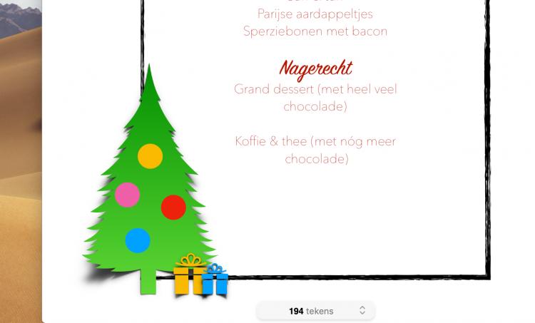 menukaart kerst zelf maken gratis