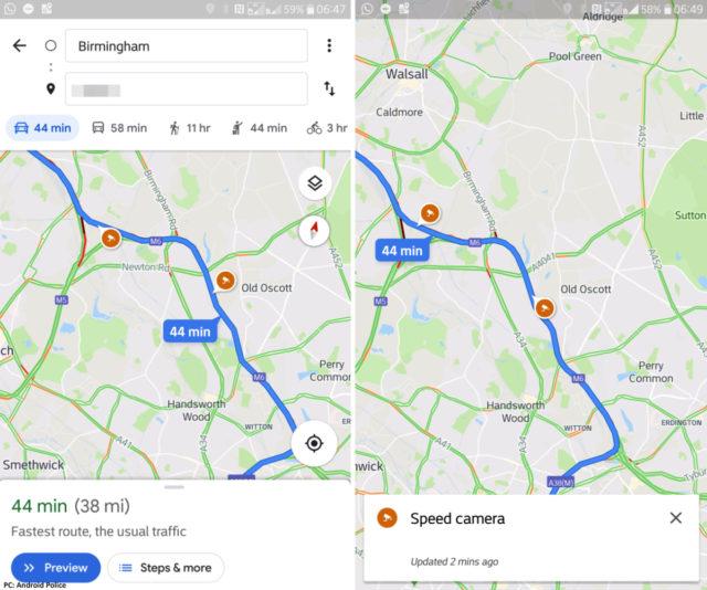 Google Maps flitspalen