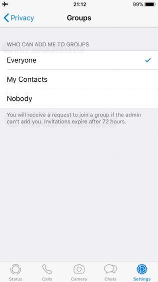 WhatsApp weigeren groepsgesprek