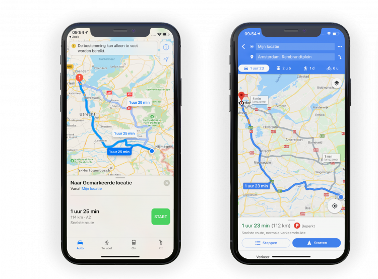 Apple Kaarten of Google Maps