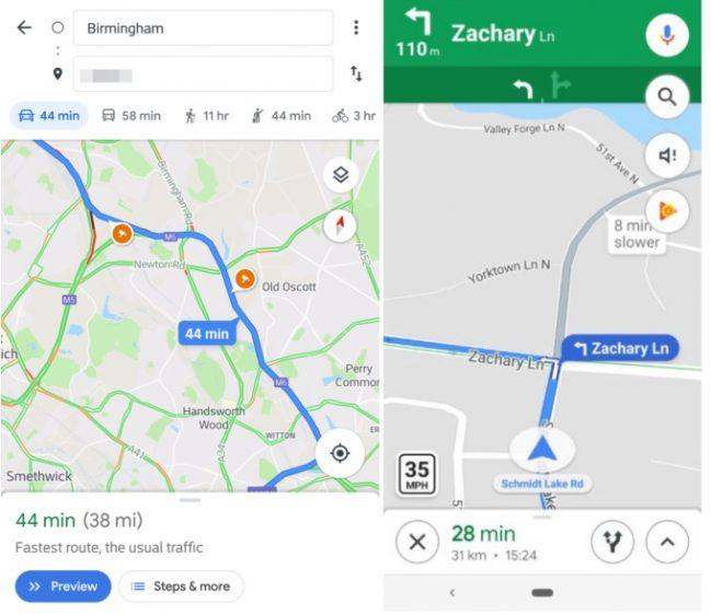 Google maps maximumsnelheid