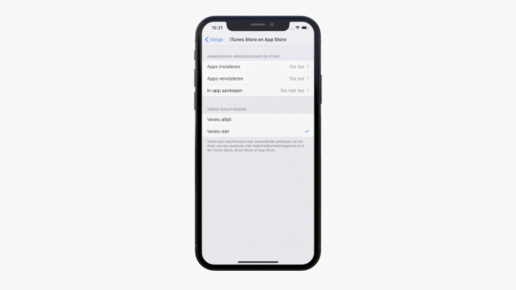 Blokkeer in-app aankopen