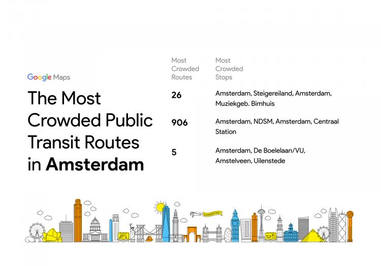 Google Maps drukte Amsterdam