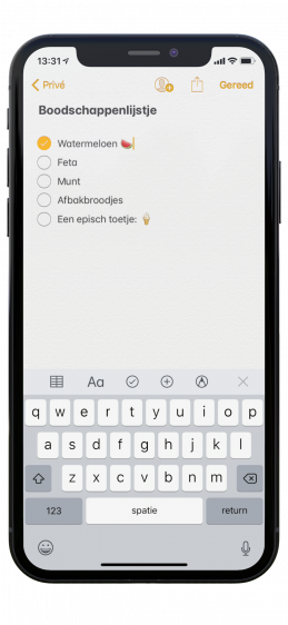 Boodschappenlijst iPhone maken