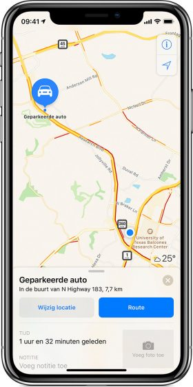 Geparkeerde auto terugvinden iPhone